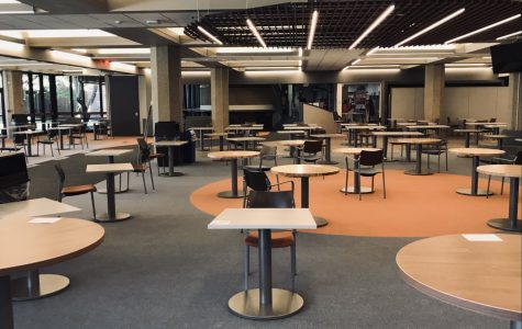 GSU's renovated cafeteria area sits empty as most classes are held remotely. (Photo by Madelynn Prieboy)