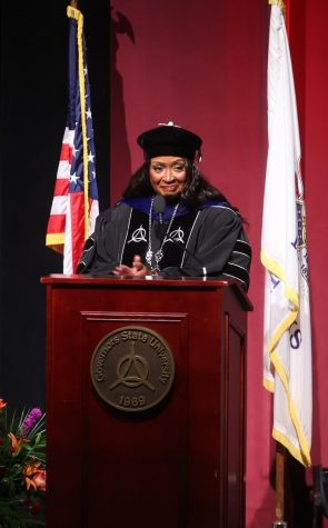 Dr. Green addresses the audience during her investiture ceremony.